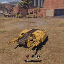 Совсем странный танк с центральной компоновкой гусениц «Голиаф» и развернутыми на 90 градусов пушками.